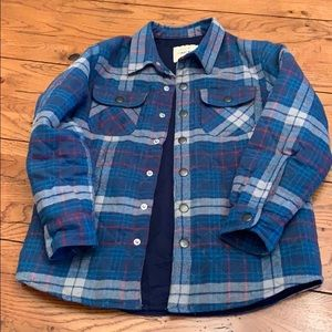 Boys Heavy Plaid Button Up Jacket Size Small